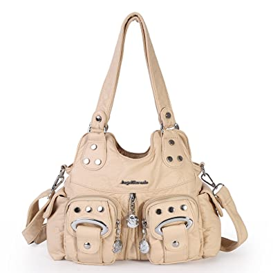 Angel Barcelo 3 Top Zippers Multi Pockets Purses and Handbags Leather  Shoulder Bags Backpack Women ( 1d309bffe38f4