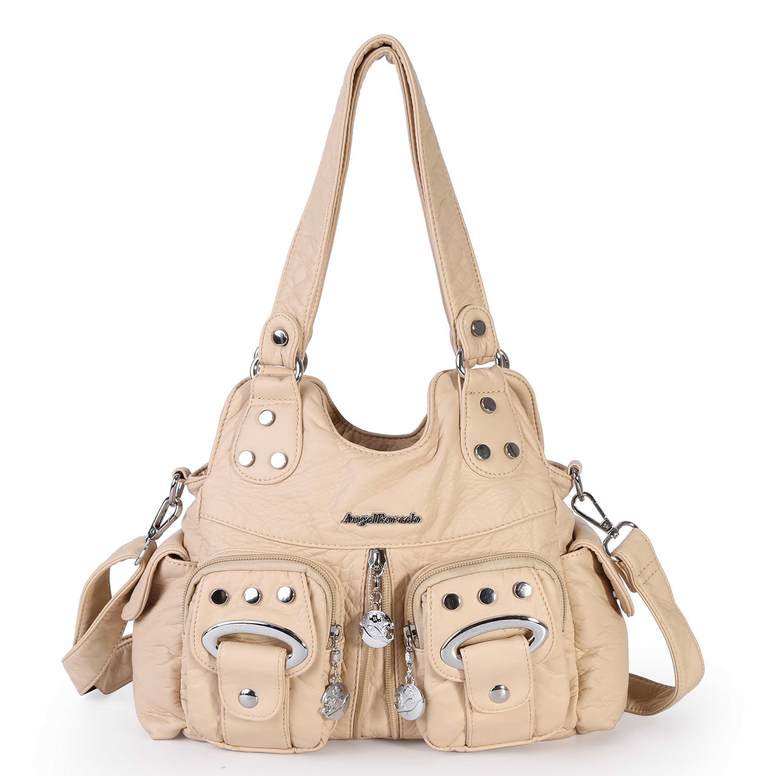 Angel Barcelo 3 Top Zippers Multi Pockets Purses and Handbags Leather Shoulder Bags Backpack Women (Beige)