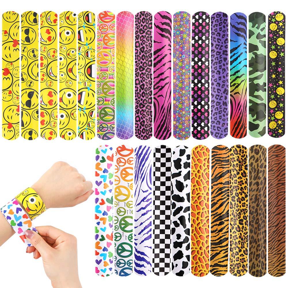 YIQIHAI 100pcs Bulk Slap Bracelets with Different Print Design Retro Slap Bands for Kids Adults Party Favor Pack by YIQIHAI