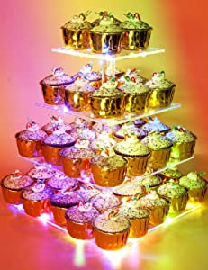 Vdomus Pastry Stand 4 Tier Acrylic Cupcake Display Stand with LED String Lights Dessert Tree Tower for Birthday/Wedding Party (Multicolor)