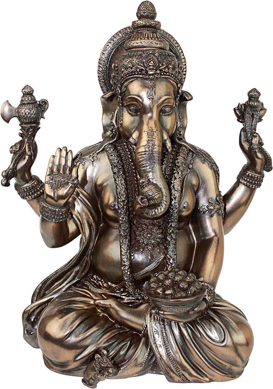 Design Toscano KY4610790 Sitting Lord Ganesha Elephant Statue, 11 Inch, Polyresin, Faux Bronze