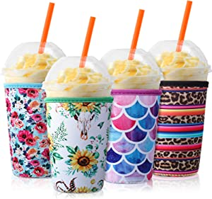 4 Pieces Reusable Coffee Sleeve Neoprene Cup Holders Drinks Insulator Sleeve for Cold and Hot Beverages, 4 Styles (22-24 oz)