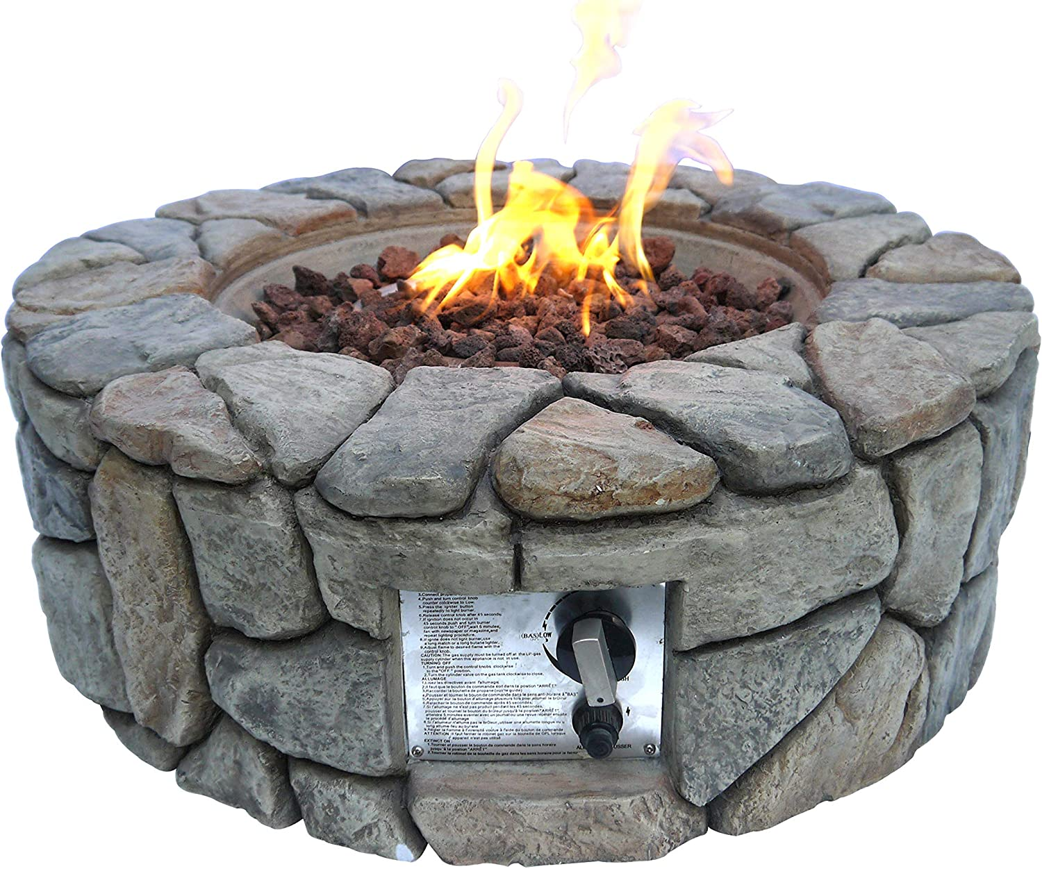 Amazon Com Peaktop Hf09501aa Round 40 000 Btu Propane Gas Fire Pit Stone Look For Outdoor Patio Garden Backyard Decking With Pvc Cover Lava Rock 28 X 28 Gray Garden Outdoor