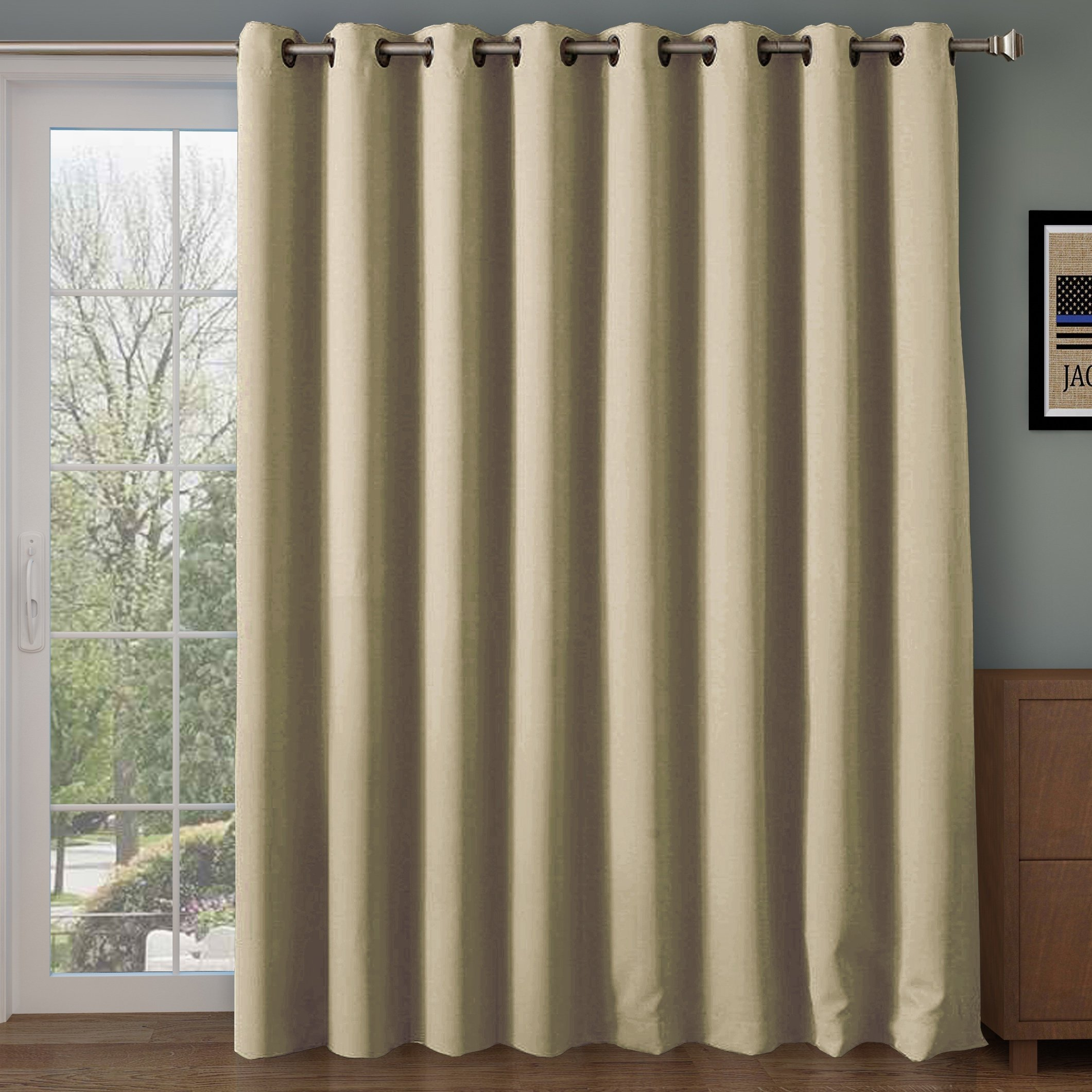 RHF Wide Thermal Blackout Patio Door Curtain Panel, Sliding Door Insulated Curtains,Thermal Curtains,Grommet Curtains, Extra Wide Curtains, Curtains for Sliding Glass Door:100W by 84L Inches-Beige by Rose Home Fashion