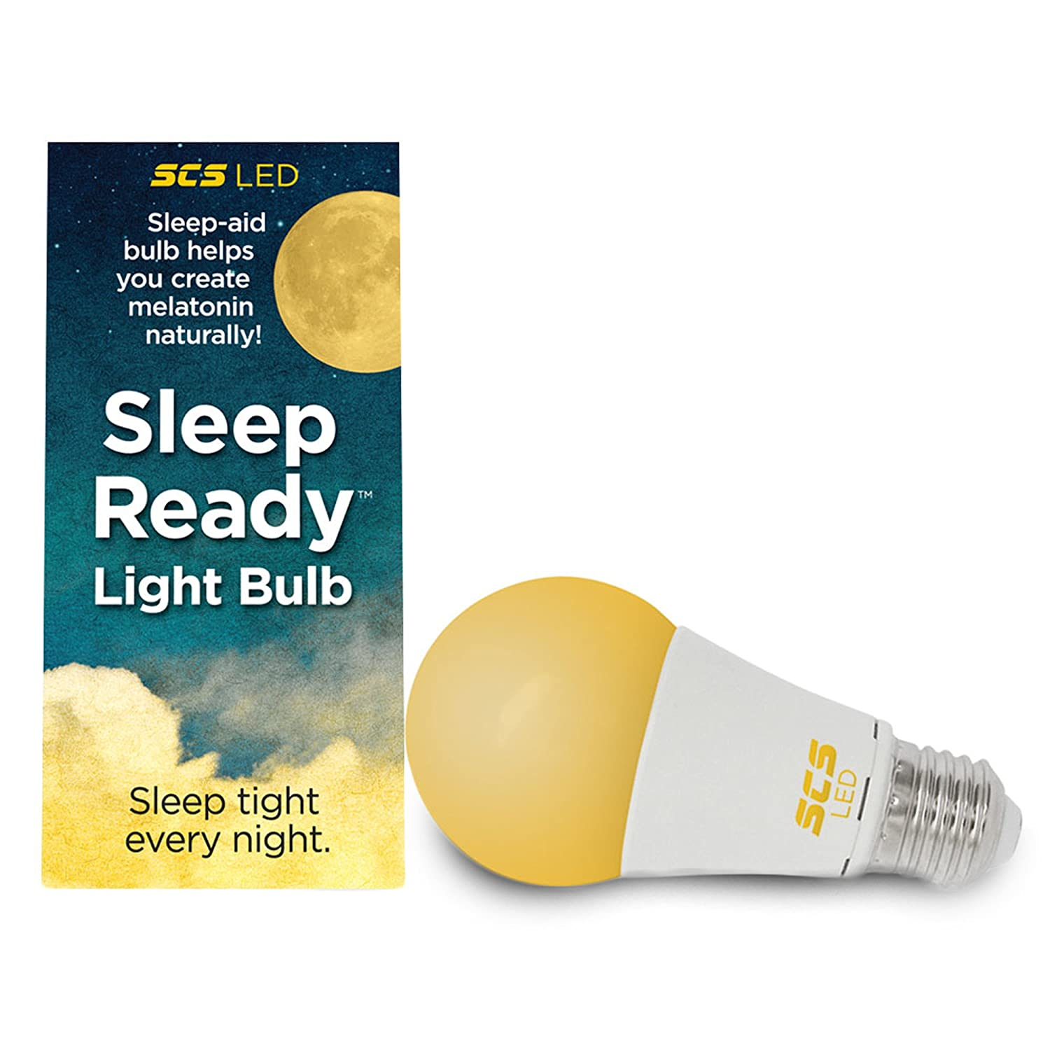 SCS Lighting Sleep-Reddy Light. Sleep Better, Naturally! 7 watt LED AMBER Bulb. Supports healthy sleep patterns, Promotes Natural Melatonin Production with Ambient Low Blue Light. SCS Lighting Solutions H&PC-65088