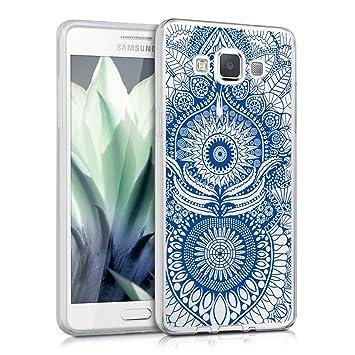 kwmobile Funda para Samsung Galaxy A5 (2015) - Carcasa de [TPU] para móvil y diseño Oriental en [Azul/Transparente]