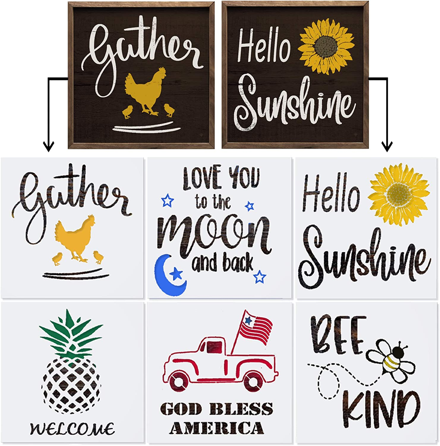 Stencils for Painting on Wood & More | Large Word Stencil Set for DIY Crafts | Reusable Farmhouse Stencils for Wood Signs, Canvas & Wall Decor | Includes Gather, Hello Sunshine and a Welcome Stencil