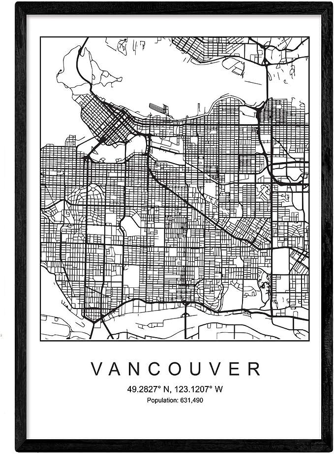 Nacnic Lámina Mapa de la Ciudad Vancouver Estilo nordico en Blanco ...