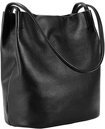 71c105fe3411 Amazon.com  Iswee Women Leather Tote Bucket Bag Soft Leather Casual Shoulder  Bag For Girls Fashion Handbag (Black)  Shoes