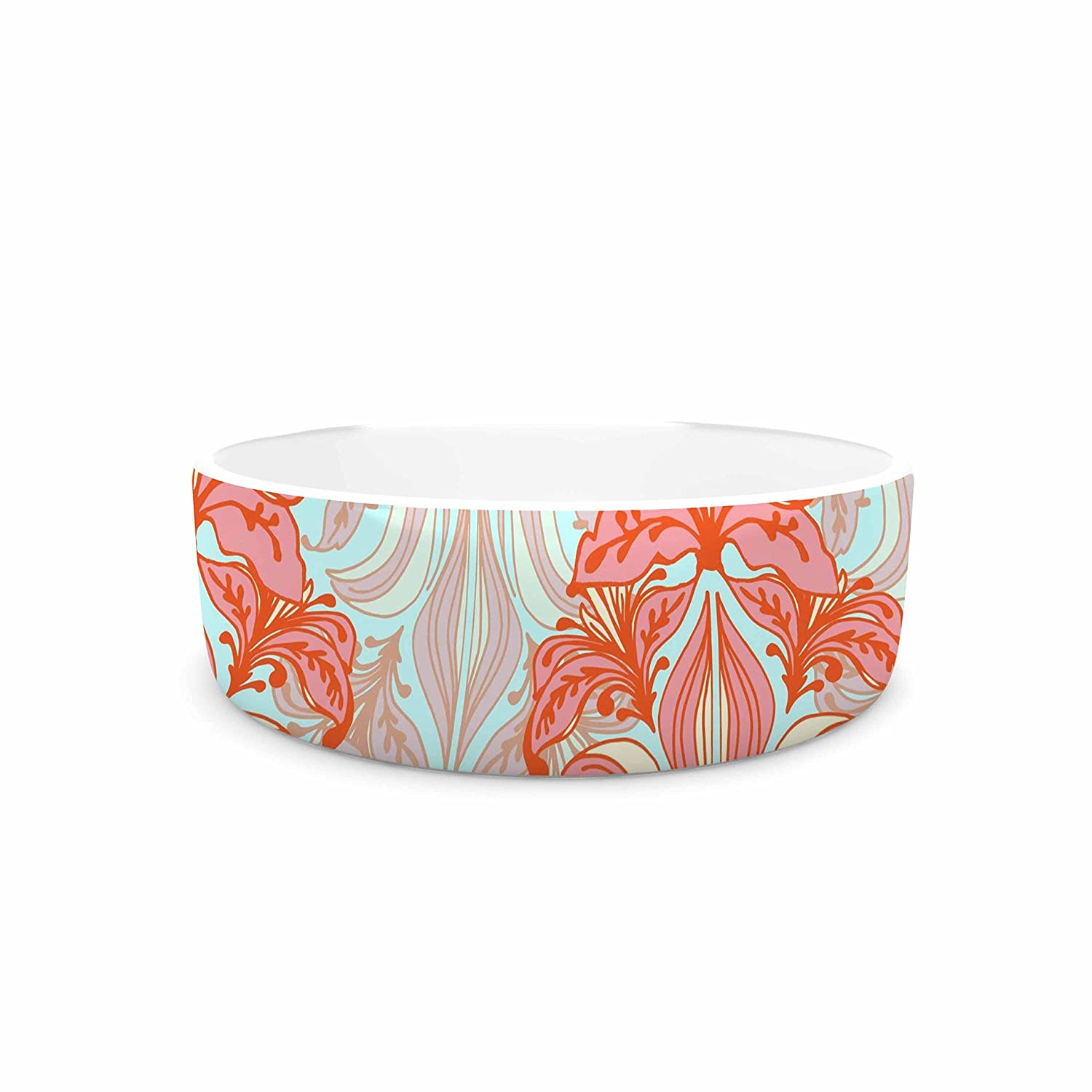 4.75\ KESS InHouse Amy Reber Baroque  orange Pattern Pet Bowl, 4.75