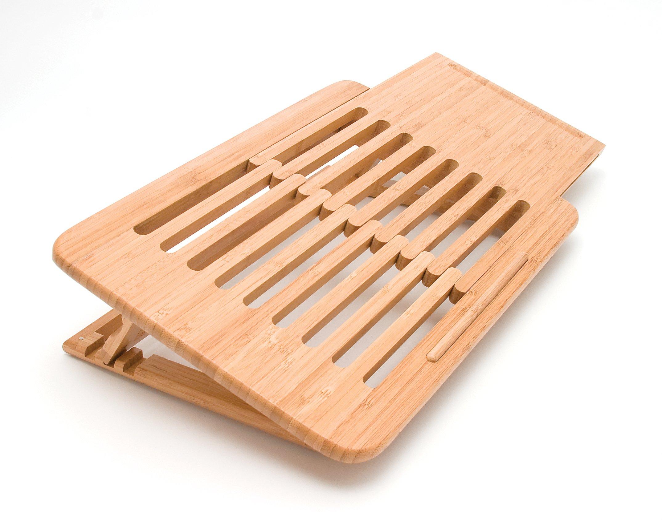 Lipper International 1888 Bamboo Wood Expandable Laptop Stand, Slatted by Lipper International (Image #1)