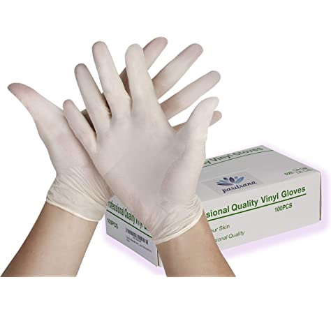 Large, 100PCS Disposable Clear Gloves Rubber Disposable Gloves Latex Free
