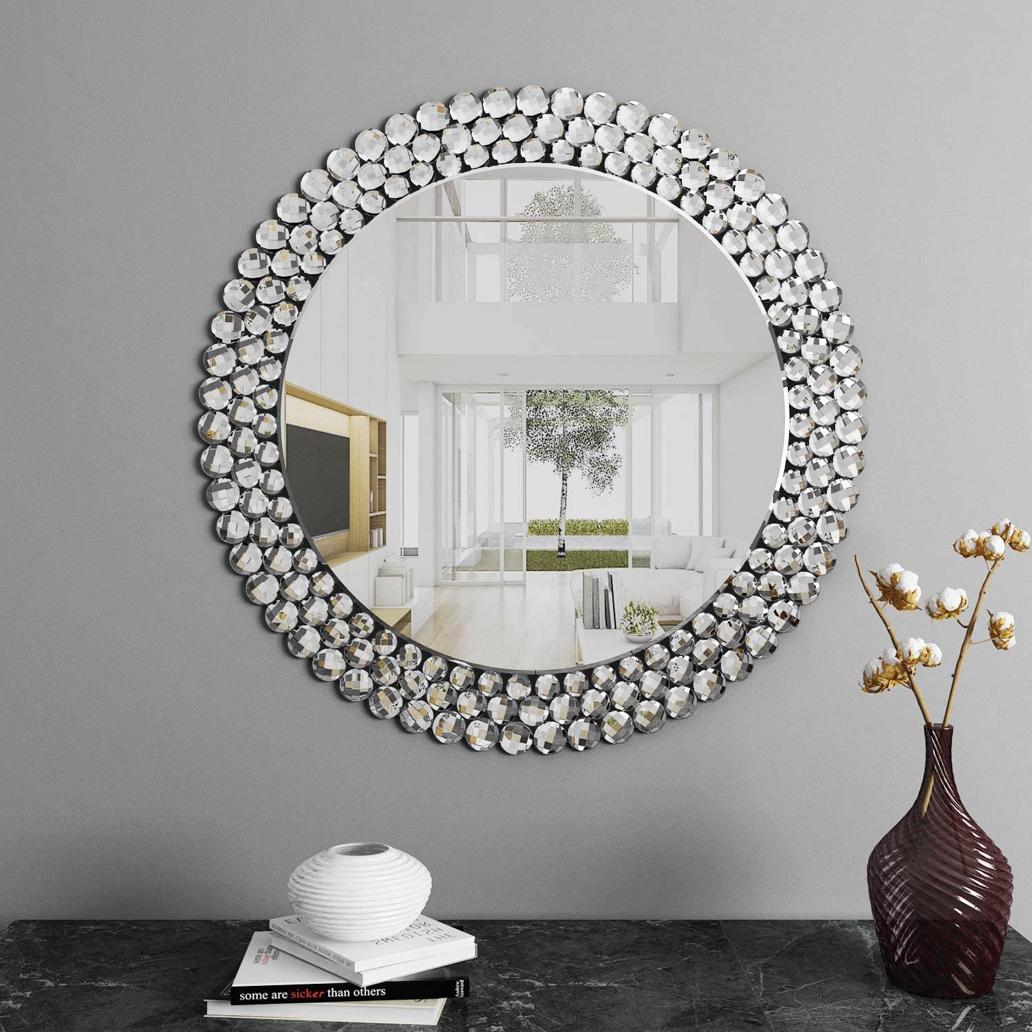 Luxury Round Wall Mirror Decorative - Circle Wall Mirror for Bedroom Livingroom: Furniture & Decor