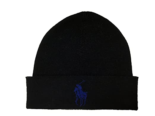 Ralph Lauren Mens Polo Big Pony Skull Cap Beanie (Black) at Amazon ... 76326a66762