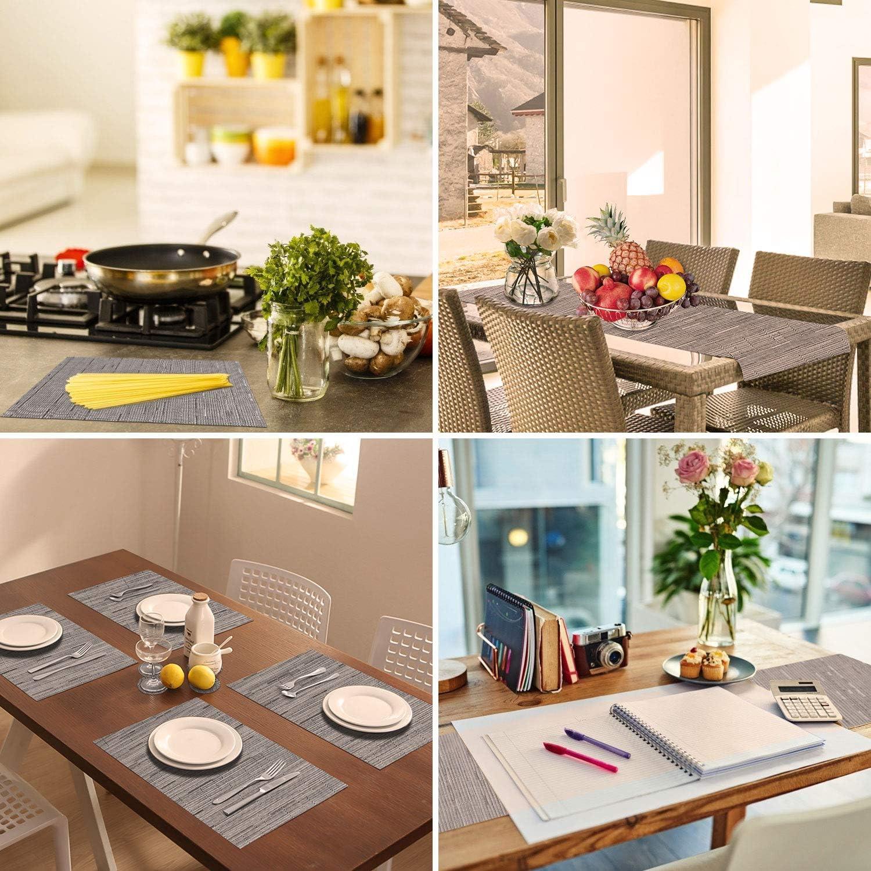 conjunto de 6 manteles individuales de vinilo antideslizante resistente al calor para la mesa de comedor de cocina 6 manteles, blanco crema