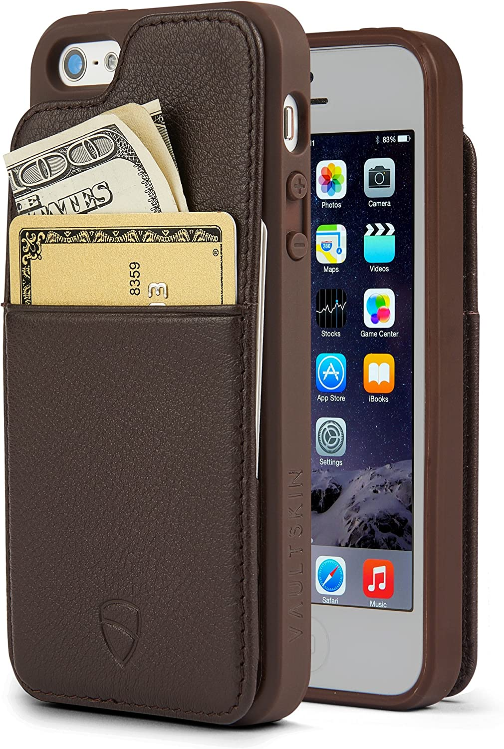 iPhone SE / 5S Walle Case, Vaultskin Eton Armour iPhone SE / 5S Case Wallet, Slim, Minimalist Genuine Leather Case - Holds up to 8 Cards/Top Grain Leather (Brown)