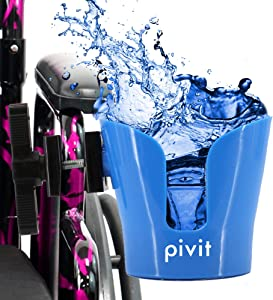Pivit Universal Cup Holder   Attachable Cupholder for Stroller, Wheelchair, Desk, Water Bottle, Coffee Mug, Drink Glass, Can   Adjustable Mountable Clip for Bike, Rollator   Large Portable with Clamp