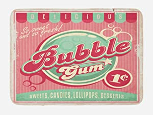 "Lunarable 1950s Bath Mat, Bubble Gum Tasty Candy Lollipop Sugar Advertise Poster Style, Plush Bathroom Decor Mat with Non Slip Backing, 29.5"" X 17.5"", Pink Magenta"