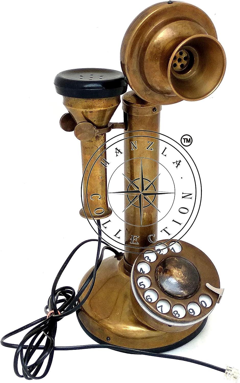 Hanzla Collection Antique Brass Rotary Candlestick Phone Retro Telephone Vintage Desk Decor Gift