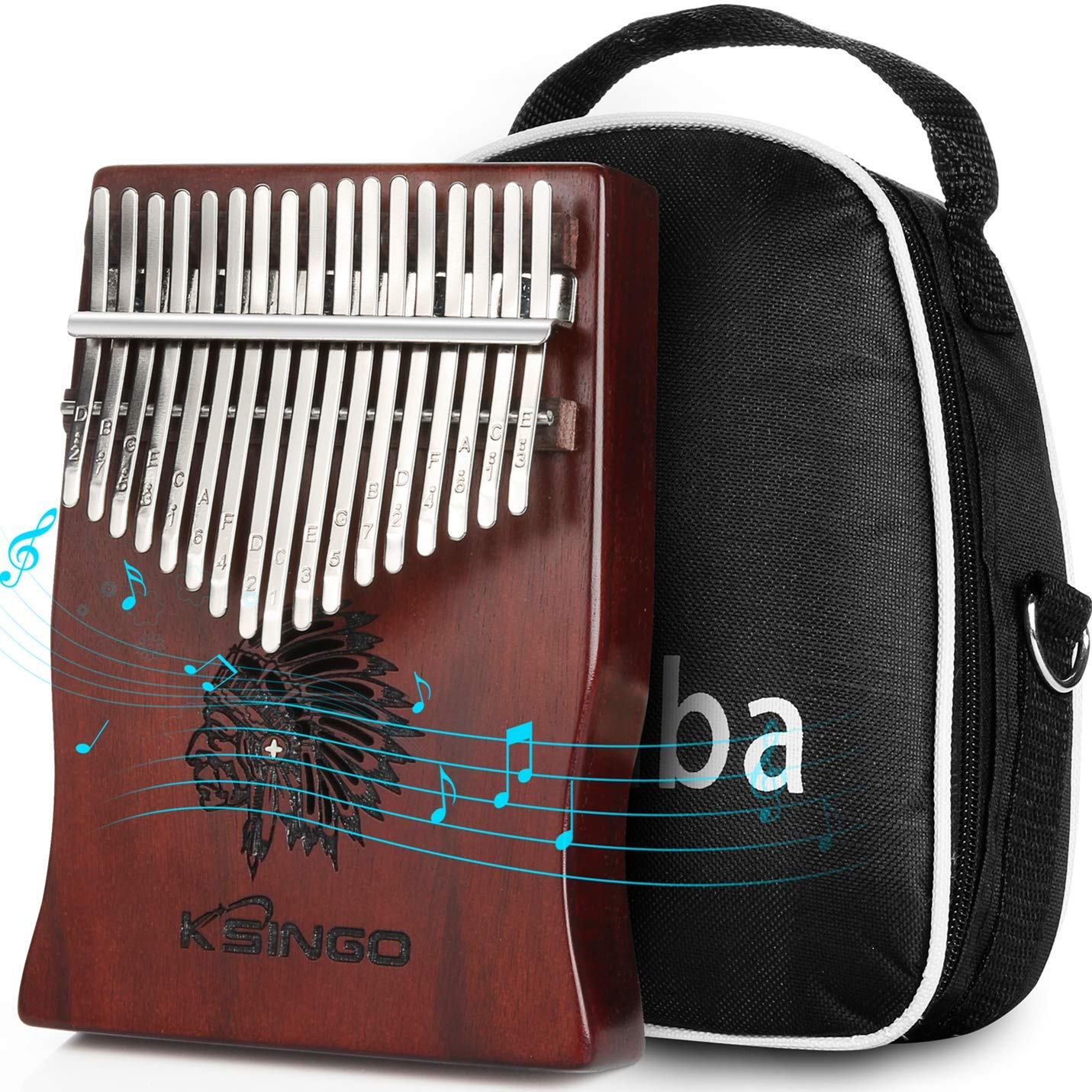 Kalimba 17 Keys Thumb Piano, Portable 17 Tone Mbira Musical instrument, Premium Rosewood Body Ore Metal Tines Finger Piano, Unique Gift Birthday Gift Idea for Kids Adult Beginners & Professional by Ksingo