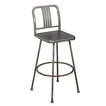 Target Marketing Systems Skyler Collection Model Industrial Metal Adjustable  Swivel Bar Stool, With Adjustable Legs