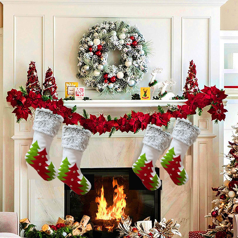 Assivia Socks Red Green Small Button Christmas Tree White Striped Gray Plush Warm Toy Gift Pendant