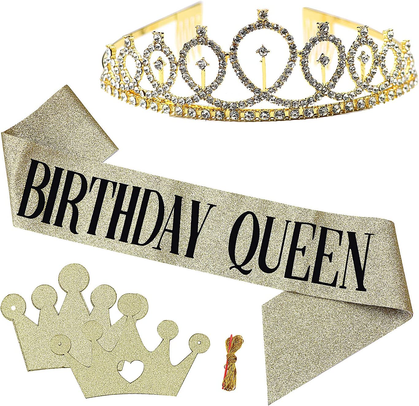 """MoonBrush """"Birthday Queen"""" Theme Party Kits, Gold Glitter Birthday Sash with Black Lettering Rhinestone Tiara Crown Pull Flag for Women Birthday Party Supplies"""