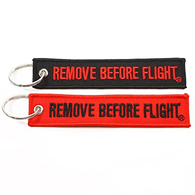 Rotary13B1 Remove Before Flight Key Chain - Black & Red Combo 2 Pack: Automotive
