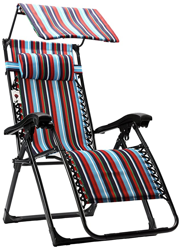 FLAMROSE Zero Gravity Stylish Recliner Outdoor Patio Pool Beach Chair
