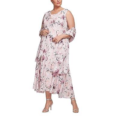 fe728cf1c3d1 Alex Evenings Women's Plus Size Tea Length Printed Chiffon Dress with  Shawl, Blush Multi,