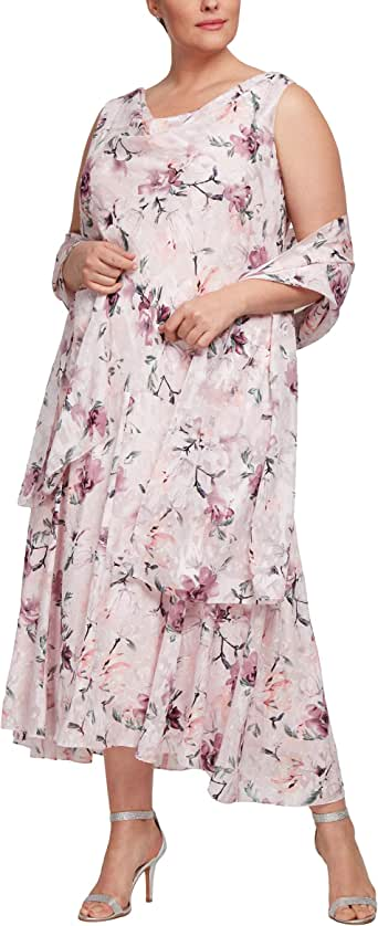 Alex Evenings Women's Plus Size Tea Length Printed Chiffon Dress with Shawl