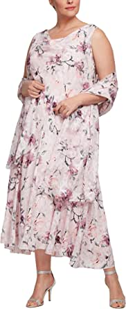 Alex Evenings Women's Plus Size Tea Length Printed Chiffon Dress with Shawl