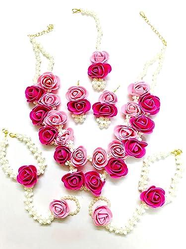 Buy Floret Jewellery Beautiful Pearl Designer Pink Flower Jewellery