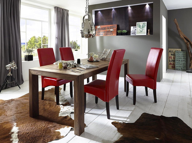 Esstisch-Gruppe Walnuss geölt 200x100 cm recht-eckig mit 6 Kunstleder-Stühlen | Essgruppe aus massivem Walnussholz mit 6 cremefarbenen Polster-Stühlen | Tischgruppe mit Esstisch 200cm x 100cm 7 tlg.