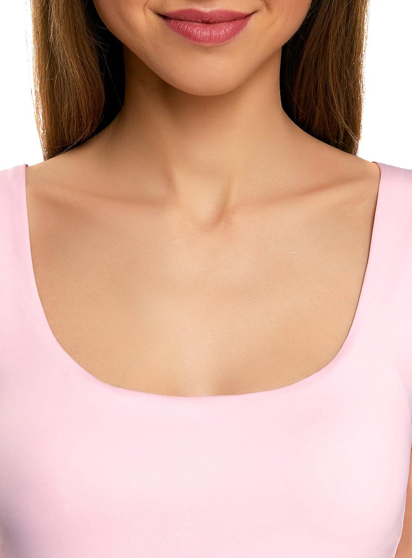 oodji Collection Femme Top en Tissu /Élastique /à Larges Bretelles