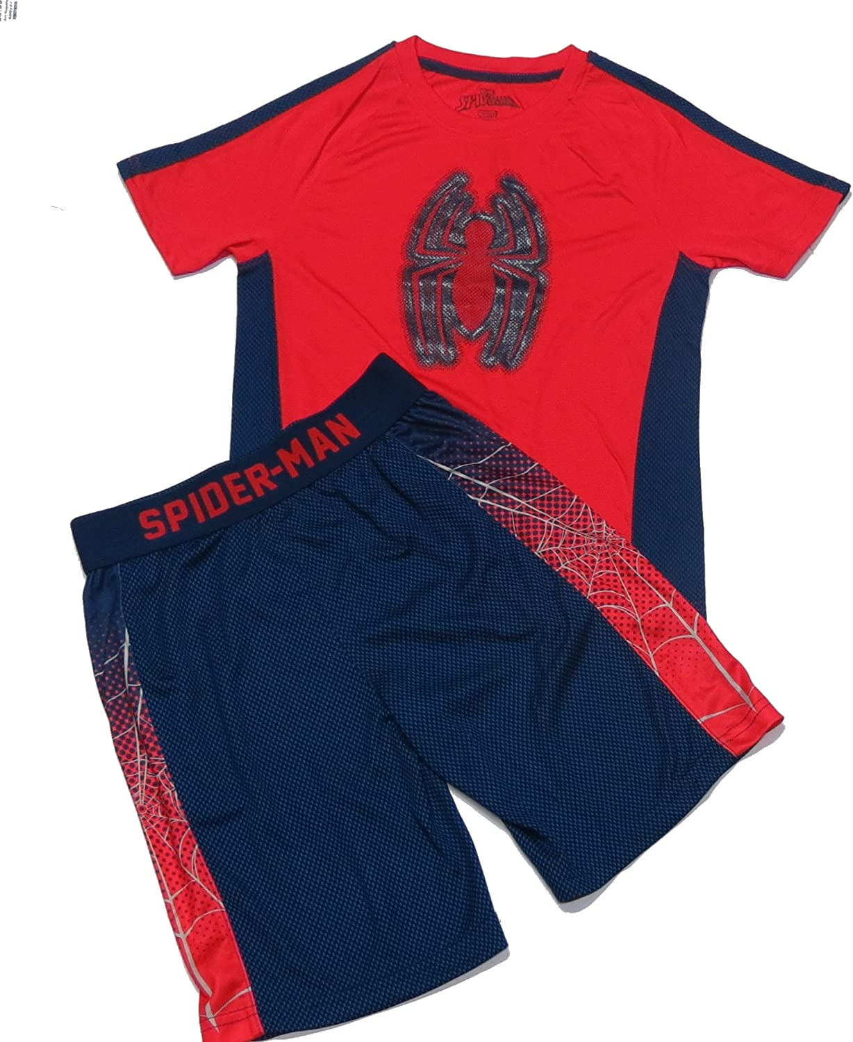 Spider Man Boys Active Poly T-Shirt /& Boys Sold Active Shorts Size 6//7 Red