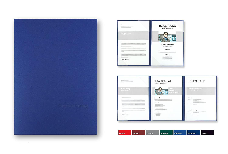 """5 Stück 4-teilige Bewerbungsmappen BL-exclusivdruck® MEGA-plus in  Königsblau // Klassische Premium-Qualität mit edler Relief-Prägung""""Bewerbung""""  ..."""