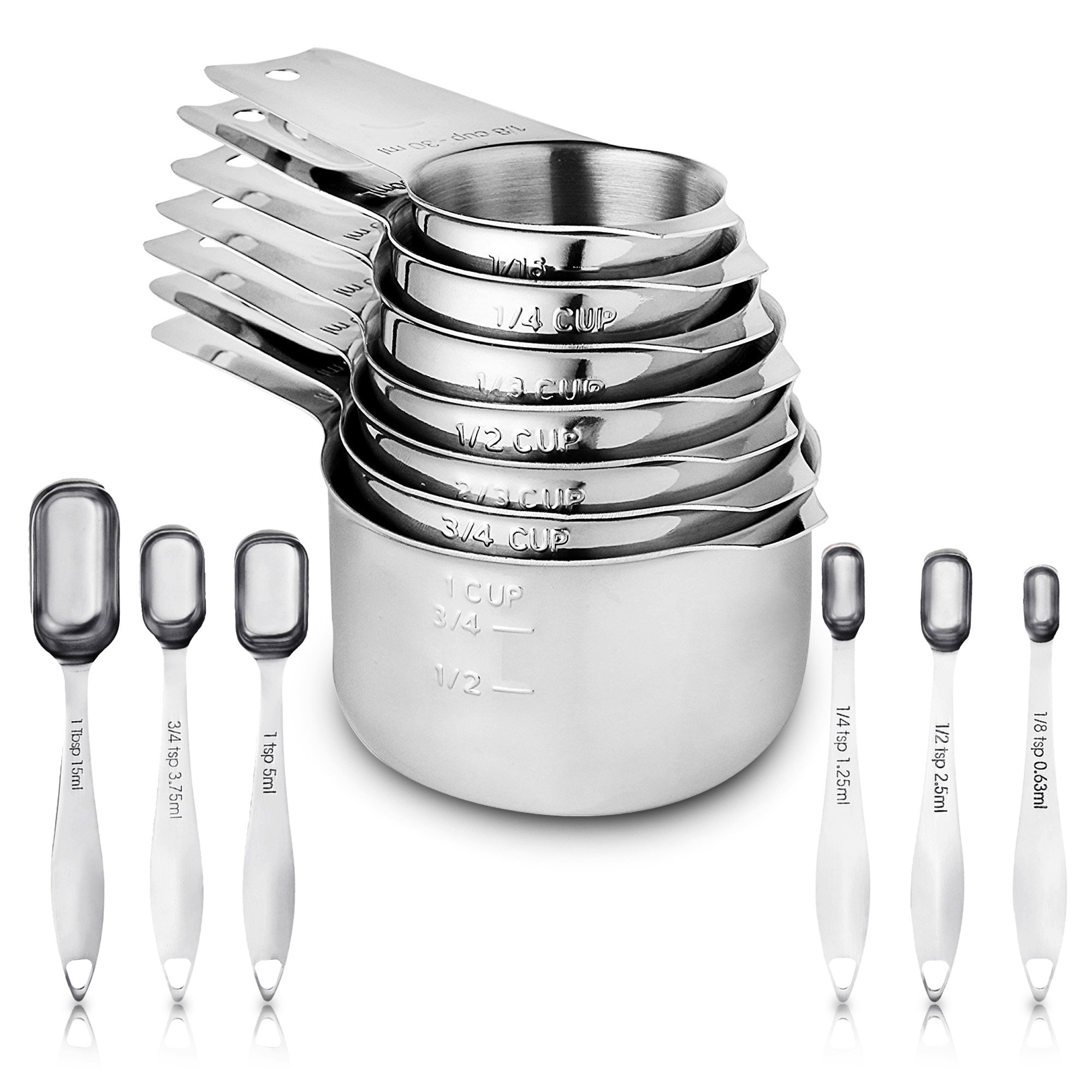 Chef Part Measuring cups and spoons set of 13- Stainless steel measuring cups and spoons-Heavy duty measuring cups- Metal measuring cup- Liquid or dry measuring cup- Narrow spoons fits in spice jars.