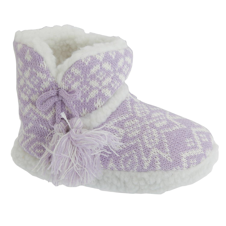 Slumberzzz Childrens Girls Snowflake Patterned Design Slipper Boots UTSL604_2