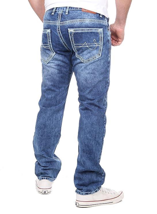 Reslad Herren Vintage Dicke Naht Used Style Jeans Hose RS-9574B Blau W29   Amazon.de  Bekleidung e1a4a96e0d