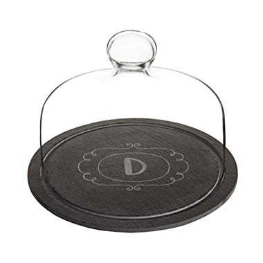 Cathy's Concepts 2197-D Personalized Slate Tray with Glass Dome, Black