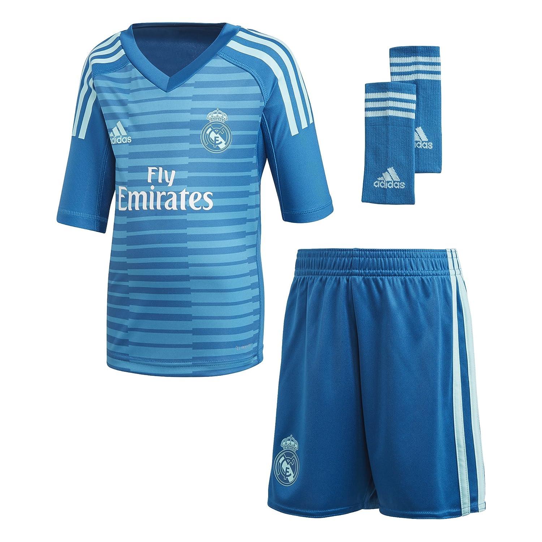 e1034d0bd adidas Conjunto Real Madrid Portero Segunda Equipación Niño 2018-2019 Bold  aqua-Unity blue  Amazon.es  Deportes y aire libre