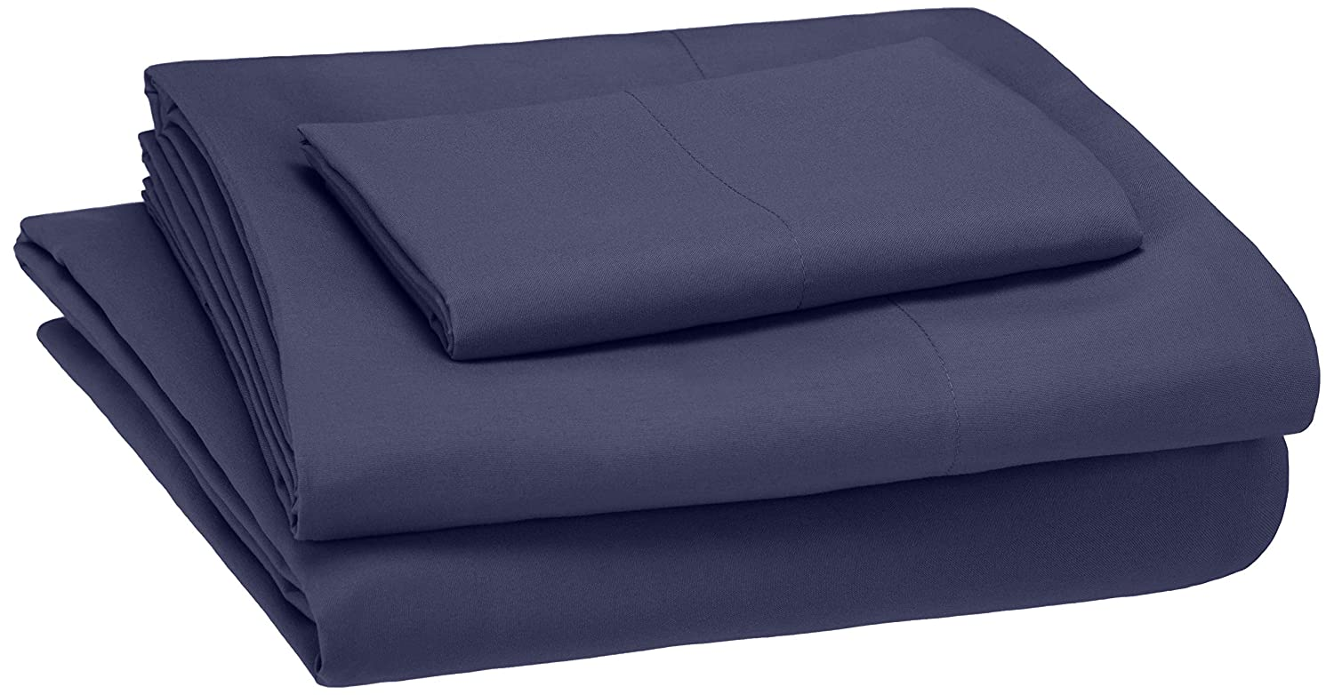 AmazonBasics Kid's Sheet Set - Soft, Easy-Wash Microfiber - Twin, Twilight Blue