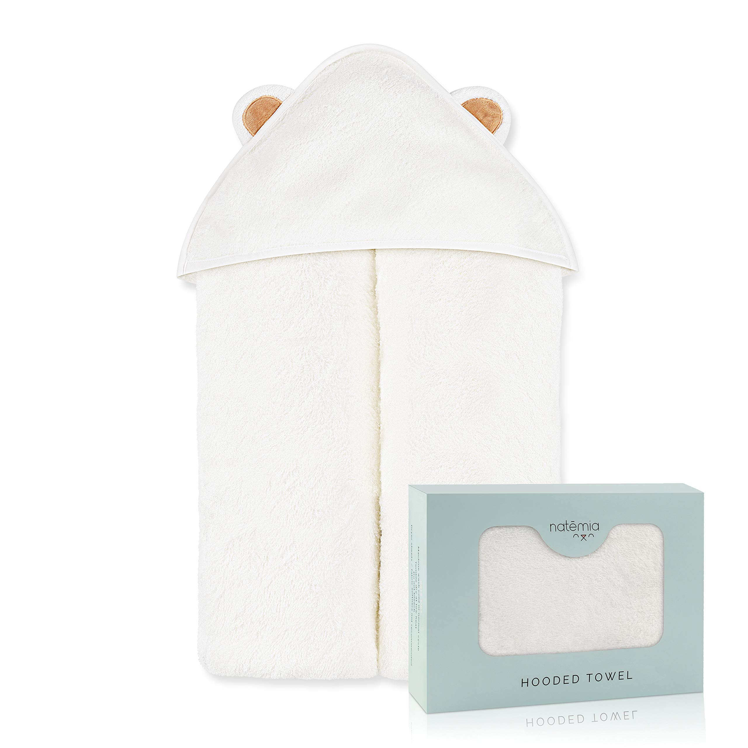 Natemia Extra Soft Rayon from Bamboo Baby Hooded Towel | Super Absorbent and Hypoallergenic | Sized for Infant and Toddler by Natemia