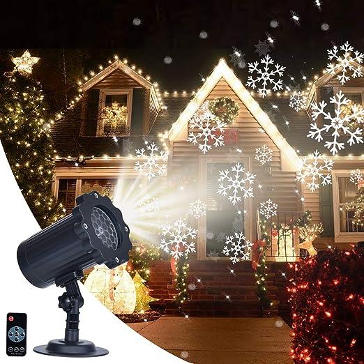 Soontrans Proyector Navidad LED Copos de Nieve Giratorio Impermeable IP65 Proyector Interior y Exterior para Navidad, Fiesta de Cumpleaños, Boda