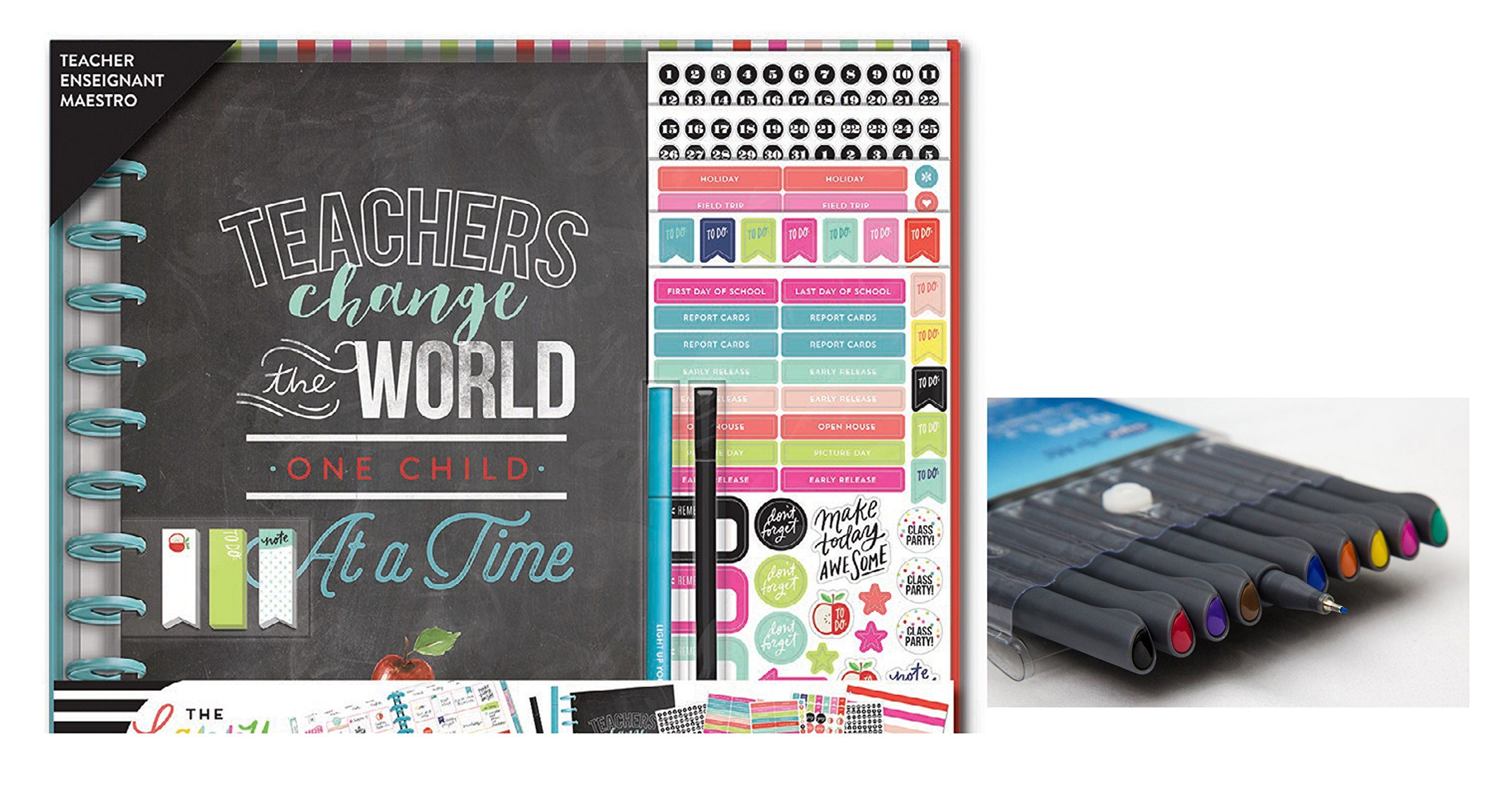 me & My Big Ideas Create 365 The Happy Planner, Big Box Teachers Change The World, 12 Month Planner, Comes with Kemah Craft Fineliner Color Pens (Bundle Box-184) Undated