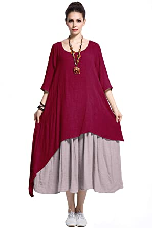Anysize Fake Two Piece Linen Cotton Dress Spring Summer Plus Size ...