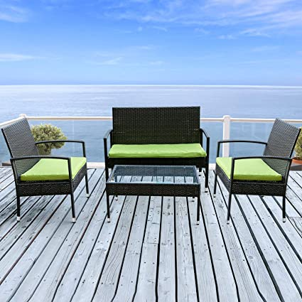 Astounding Merax 4 Piece Outdoor Pe Rattan Wicker Sofa And Chairs Set Rattan Patio Garden Furniture Set Machost Co Dining Chair Design Ideas Machostcouk