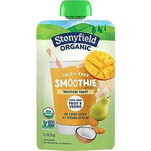 Stonyfield Organic Farm Yogurt Banana Mango Smoothie Pouch, Tropical Twist, 3.2 Oz