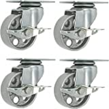 "Online Best Service 4 All Steel Swivel Plate Caster Wheels w Brake Lock Heavy Duty High-gauge Steel 1500lb total capacity Gray (3.5"" With Brake)"